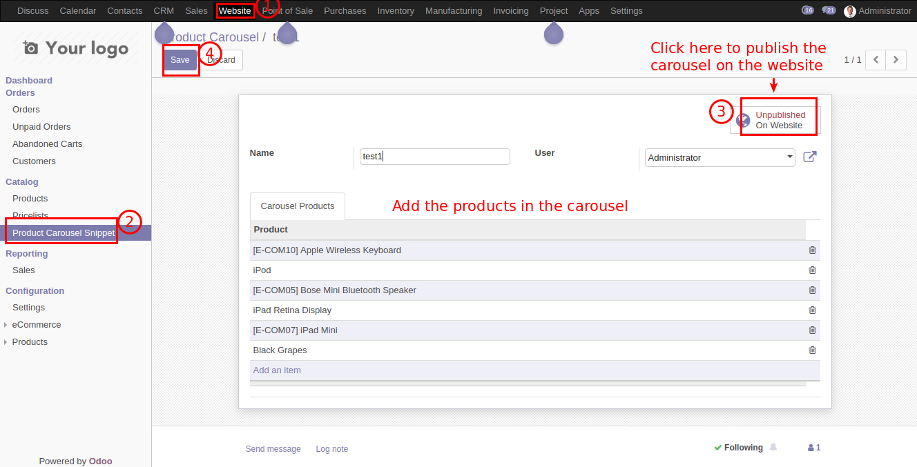 Ecommerce Products Carousel Snippet #Odoo